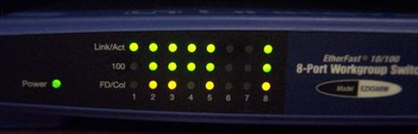 Front of Linksys eight port hub with lights