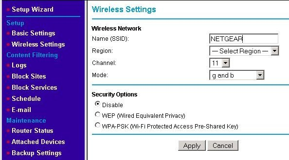 The WAP's wireless configuration