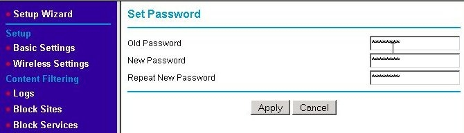 WAP Change Password screen