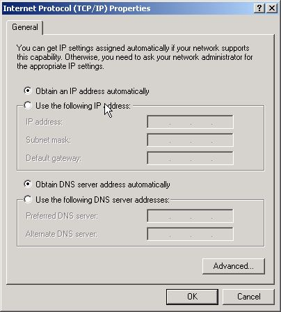Ethernet adapter properties dialog