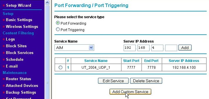 Port forwarding page (part 2)