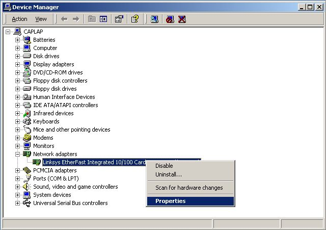 Device Manager window - Network adapters expanded